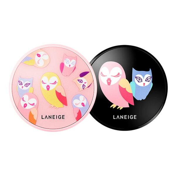 蘭芝 貓頭鷹聯名限量款  Laneige x Lucky chouette韓國 氣墊粉餅 水聚光淨白 / 零毛孔無暇 ~二擇一~SPF50+ / PA+++《ibeauty愛美麗》