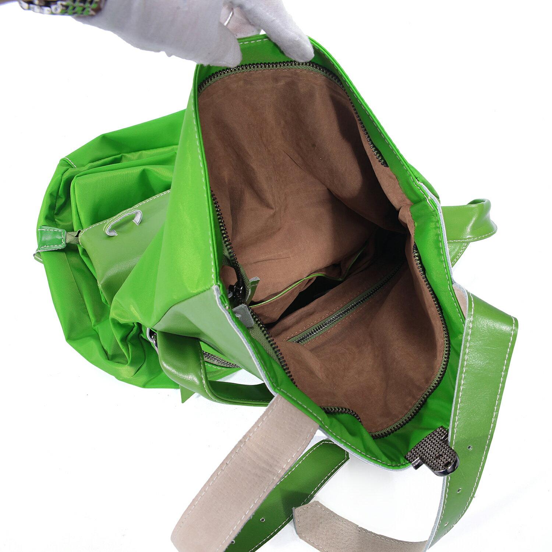 BEIBAOBAO夏季旅行防水布配真皮兩用後揹包(橄欖綠) 8