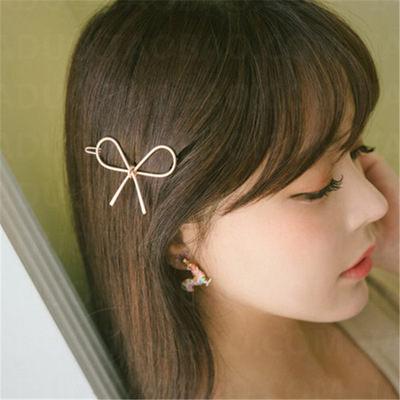 PS Mall 韓版爆款鏤空金屬蝴蝶結髮飾邊夾髮夾 【G2077】