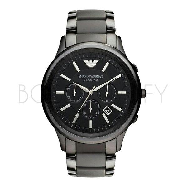 AR1452 ARMANI 亞曼尼 時尚黑色陶瓷石英男錶計時圓盤錶男錶