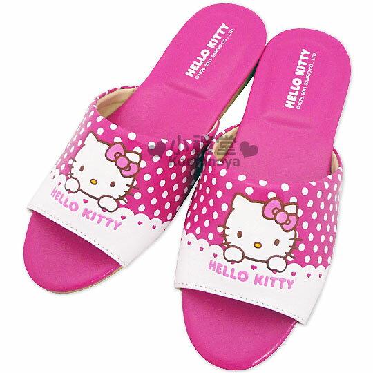 〔小禮堂〕KITTY 學童皮質拖鞋《桃紅.蕾絲點點》鞋底也有KT臉