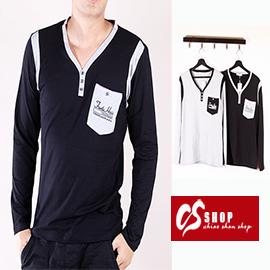 CS衣舖 彈力伸縮 造形圖案  個性V領 長袖T恤 16913 0