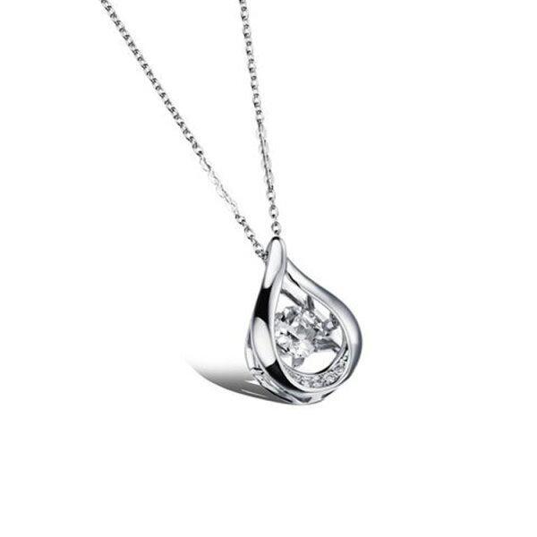 最新款日韓風格立體水滴懸空水鑽造型鍍白金鍍18K金女款項鍊