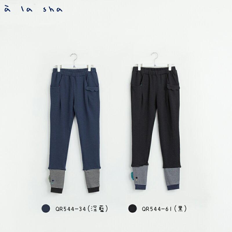 a la sha Qummi 素面剪接條紋合身褲 1