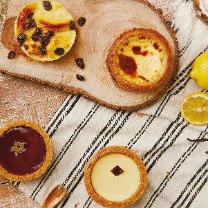 【樂田麵包屋】3吋甜塔禮盒(4入裝)★莓果起士塔+檸檬起士塔+德式布丁塔+布蕾蛋糕