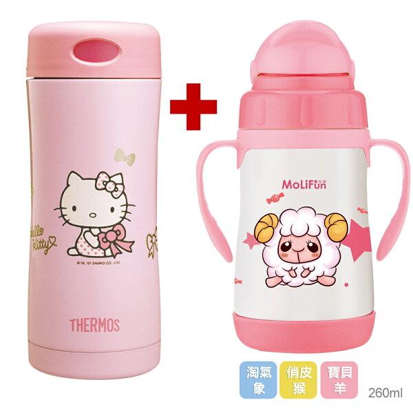 膳魔師 Hello Kitty雙層真空保溫杯瓶400ml【JCG-400-PK】+魔力坊 不鏽鋼真空兒童吸管杯/學習杯260ml(MF0152P+MJ0529)