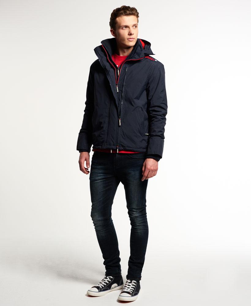 [男款] Outlet英國 極度乾燥 Pop Zip Hooded系列 男款 三層拉鍊 連帽防風衣夾克 海軍藍/叛逆紅 2