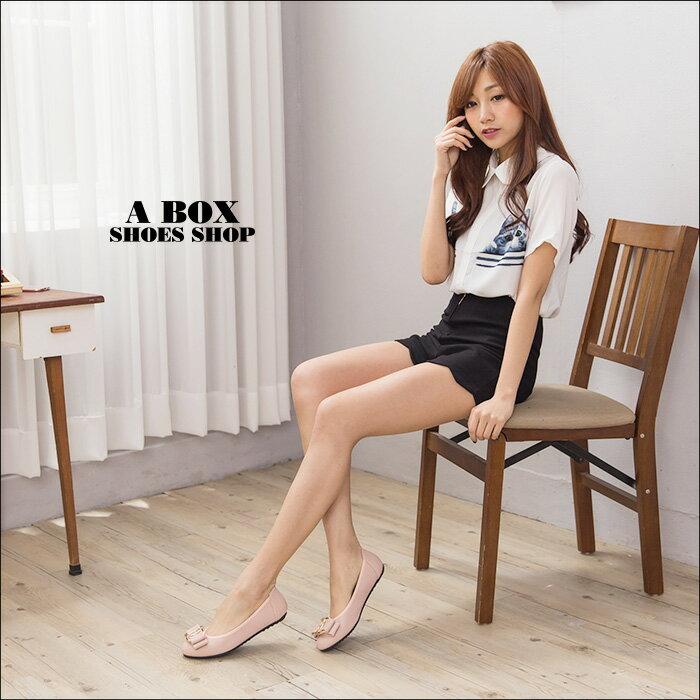 格子舖*【AB116】MIT台灣製 基本款氣質典雅蝴蝶結 舒適柔軟豆豆鞋 圓頭包鞋 3色 1