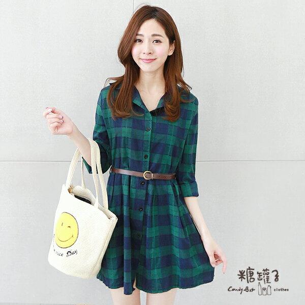 ★原價450五折225★糖罐子格紋襯衫領皮帶洋裝→預購【E40618】 2
