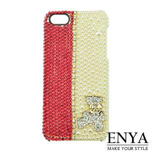 iPhone5S 雙色珍珠小熊 華麗貼鑽手機殼 Enya恩雅^(捷克水晶鑽^)