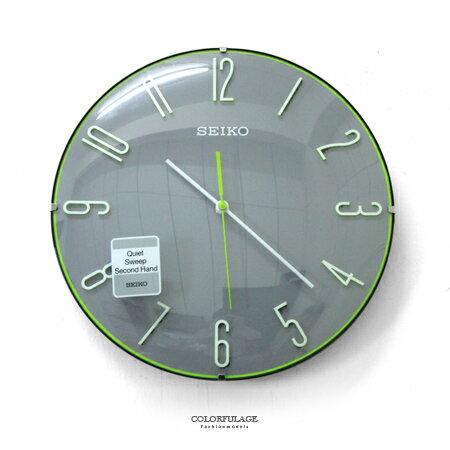 SEIKO精工掛鐘 獨特球型玻璃面x立體數字x青春洋溢綠色細邊設計時鐘 柒彩年代【NG13】原廠公司貨 0