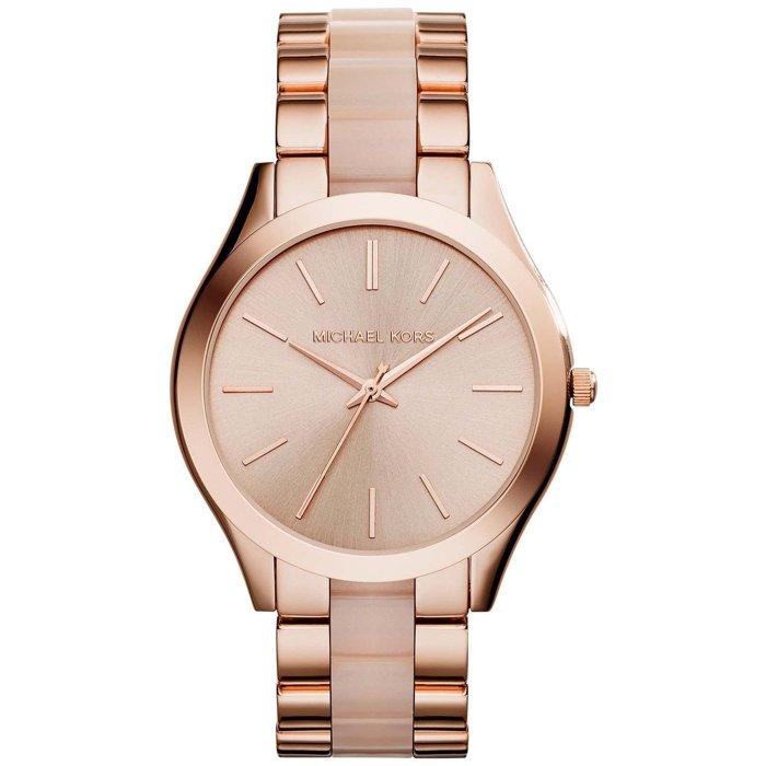 【MICHAEL KORS】正品 玫瑰金珍珠貝薄型時尚腕錶 MK4294 0