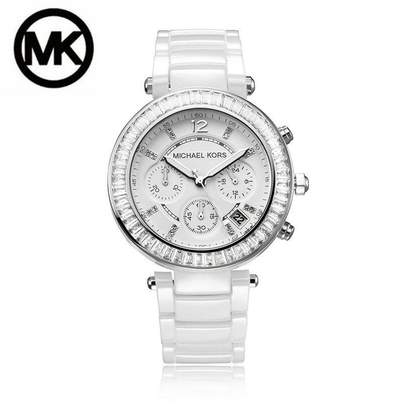 美國Outlet正品代購 MichaelKors MK 陶瓷 水鑽 三環 手錶 腕錶 MK5848 0