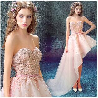 天使嫁衣【AE5730】粉色心型領斜邊裙造型晚禮服˙預購訂製款