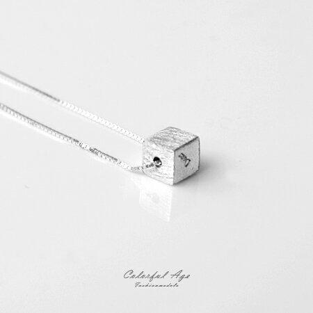925純銀項鍊 精緻細膩霧面方塊頸鍊短鍊 抗過敏設計 可愛女人 柒彩年代【NPB1】