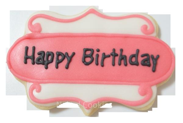 【裸餅乾Naked Cookies】生日標語粉紅色浪漫款6入-創意手工糖霜餅乾,婚禮/生日/活動/收涎/彌月