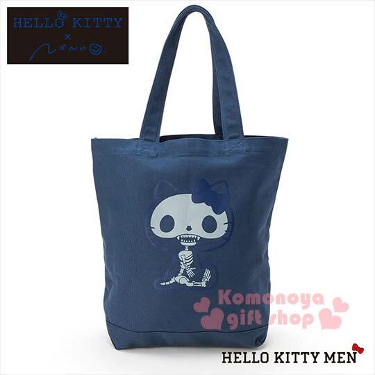 〔小禮堂〕Hello Kitty x nendo 帆布側肩背袋~藍.骷髏頭.坐姿~變形蟲系