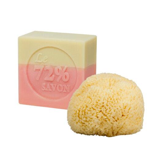 《雪文洋行》經典洗臉組合「豐郁香氛72%馬賽皂110gx1+希臘天然嬰兒海綿7~9cm(小)x1」,經典又實用的不敗款式,簡單方法讓您擁有咕溜亮透的肌膚!
