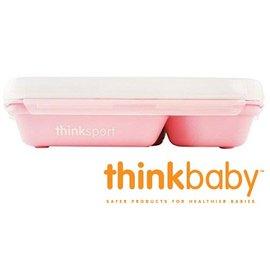 兒童餐具-Baby Joy World-美國Thinkbaby BPA Free不鏽鋼餐盤組 兒童便當盒餐盤組(附湯匙叉子+上蓋)-粉色