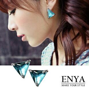 ZARA 清亮三角形水晶耳環 Enya恩雅(正韓飾品)【EAAW5】
