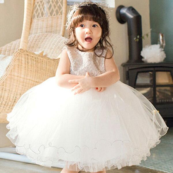 【貝貝樂SHOW】金色華麗夢幻鏤空花挖背蝴蝶結蕾絲波浪洋裝禮服