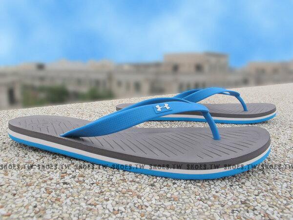 Shoestw【1252506-790】UNDER ARMOUR 拖鞋 夾腳拖 人字拖 黃藍 海灘必備 男生