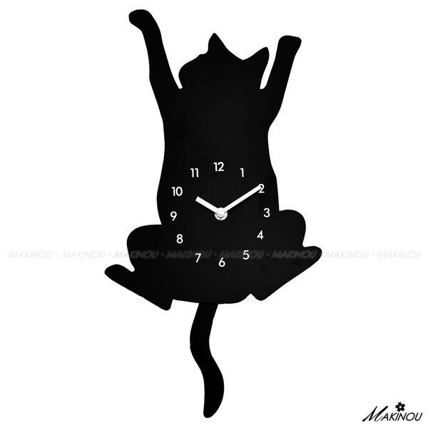 掛鐘壁鐘|日本MAKINOU-貓咪爬牆剪影擺鐘-台灣製|日本牧野 Pusheen貓 時鐘藝術鐘造型鐘數字鐘 MAKINO