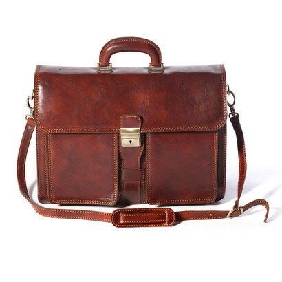 Tassia Milan Leather Briefcase (cognac) 0