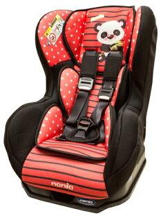 Nania 納尼亞 - 卡通動物系列0-4歲汽車安全座椅(汽座) -熊貓紅 加贈Munchkin - 外出用握把餅乾盒