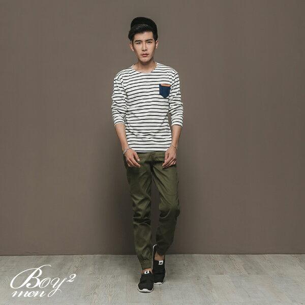 ☆BOY-2☆【NAL124】休閒條紋皮標口袋長T恤 3