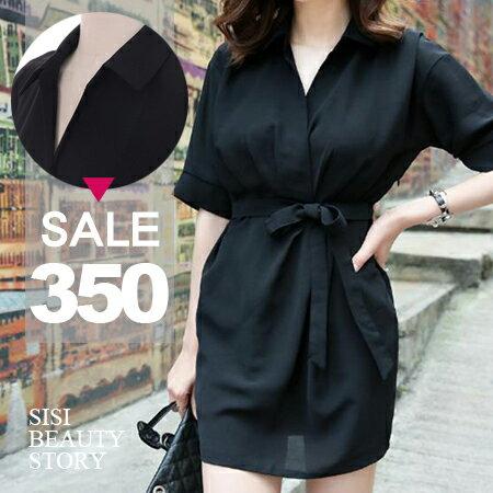 SISI【D6153】韓版甜美優雅修身V領綁帶雪紡短袖連身裙洋裝