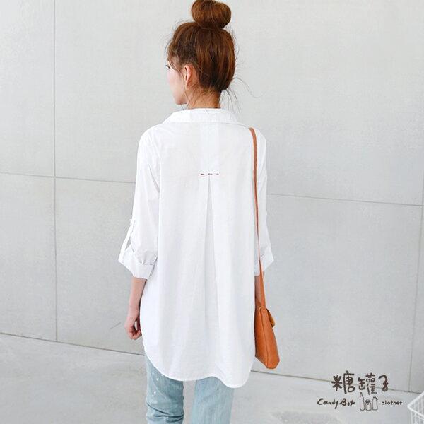 ★原價890五折445★糖罐子紅色繡線口袋反袖釦襯衫→白 預購【E40667】 2