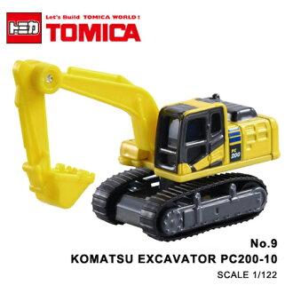 日貨 TOMICA No.9 KOMATSU EXCAVATOR PC200-10 挖土機 怪手 真車系列 汽車模型 多美小汽車【N201640】