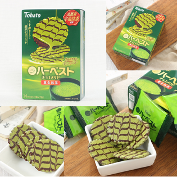 有樂町進口食品 日本零食 TOHATO 東鳩 微笑抹茶可可餅乾(14枚入盒裝) 4901940028771
