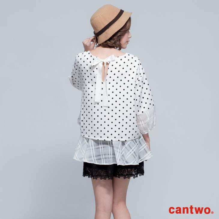 cantwo點點雪紡雙層傘狀五分袖上衣(共三色) 3