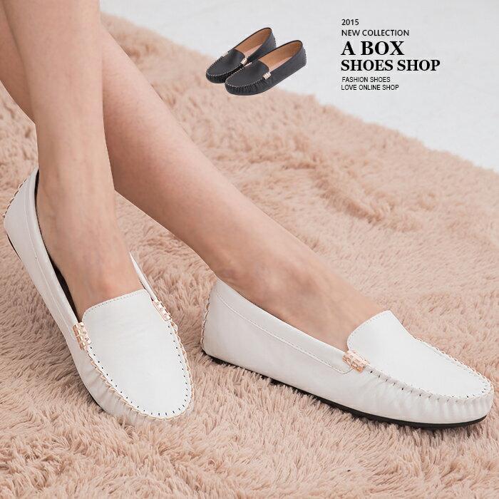 格子舖*【AI3919】MIT台灣製 基本款皮革素面金屬車線設計 休閒平底包鞋豆豆鞋 2色 0