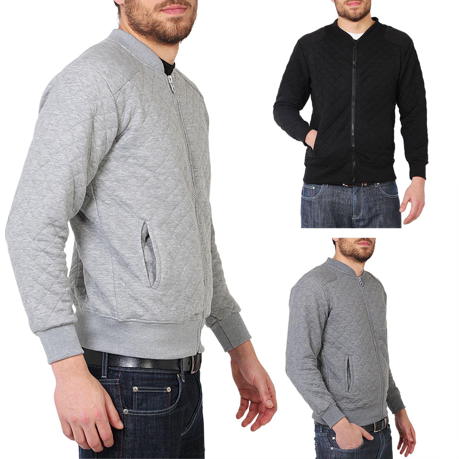 Mens Quilted Zip Up Classic Bomber Jacket Sweatshirt Top