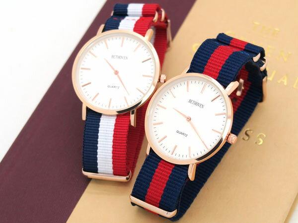 《好時光》BETHOVEN  簡約玫瑰金 英倫品味 輕薄防水 海軍帆布錶帶 女錶  男錶  對錶 中性錶