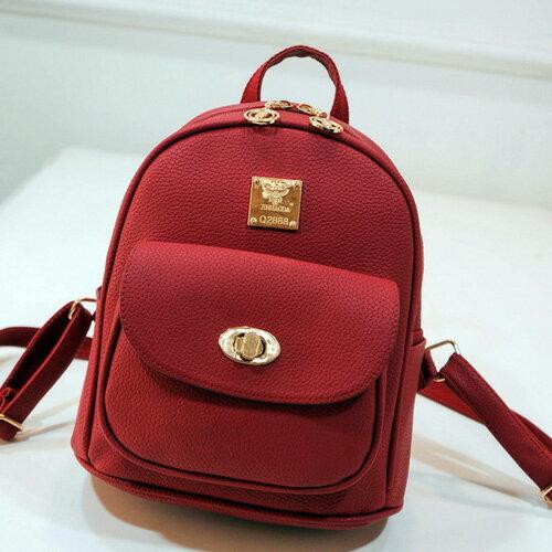 後背包-韓版新款荔枝紋女包 雙肩小包 轉鎖包 包飾衣院 P1591 現貨+預購