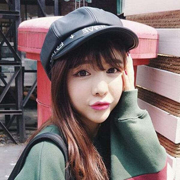 50%OFF【E018702H】秋冬帽子女復古英倫皮質八角帽韓國報童畫家帽韓版蓓蕾貝雷帽