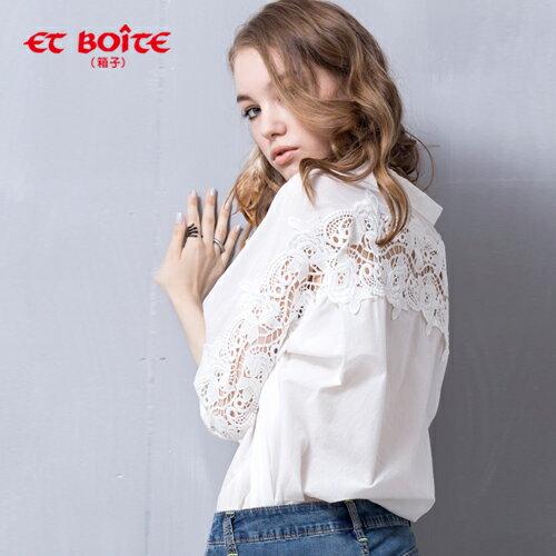 (限時$990)【ET BOiTE 箱子】蕾絲肩袖襯衫 0