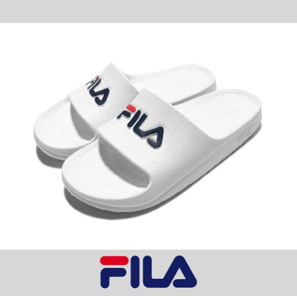 萬特戶外運動 FILA 4-S355Q 防水 超輕量 一體成形 無接縫 男女尺寸 運動 沙灘拖鞋 情侶鞋 復古經典 白色