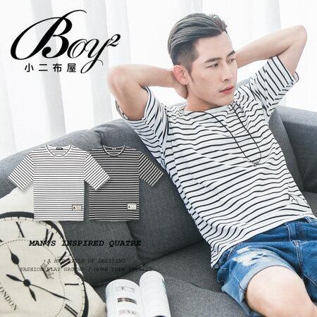 ☆BOY-2☆【ND6818】滿版休閒條紋男裝五分袖短袖T恤 0