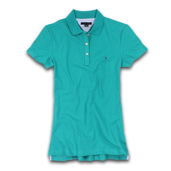 美國百分百【Tommy Hilfiger】POLO衫 TH 女衣 網眼 短袖 湖水綠 腰身 顯瘦 純棉 S號 B102