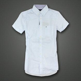 美國百分百【Tommy Hilfiger】TH 男 襯衫 短袖 上衣 休閒 口袋 水藍 葉子 印花 XXS號 F177