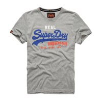 Superdry極度乾燥商品推薦美國百分百【Superdry】極度乾燥 T恤 上衣 T-shirt 短袖 短T 圓領 淺灰 LOGO 復古 S L XL號 F315