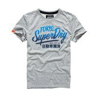 Superdry極度乾燥商品推薦美國百分百【Superdry】極度乾燥 T恤 上衣 T-shirt 短袖 短T 圓領 淺灰 漸層 復古 S M L XL 2XL號 F316