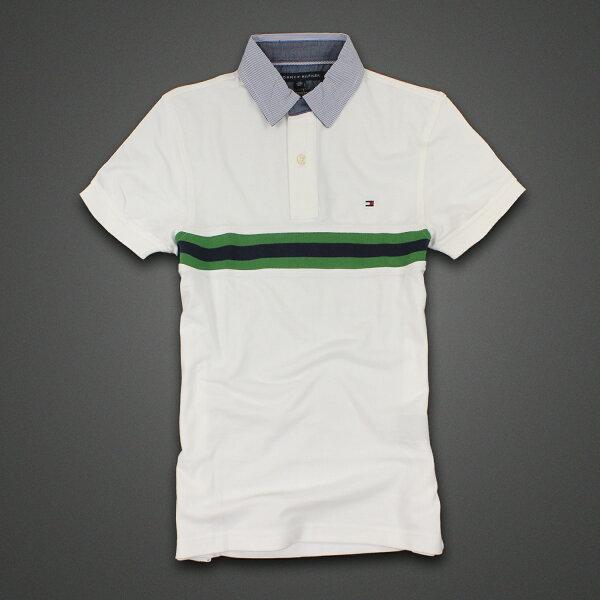 美國百分百【Tommy Hilfiger】Polo衫 TH 短袖 上衣 條紋 網眼 白色 綠色 深藍 XXS號 F328