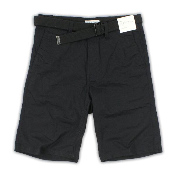 美國百分百【全新真品】Calvin Klein 短褲 CK 休閒褲 11吋 五分褲 棉麻 春夏 黑色 男 29 33腰 F330
