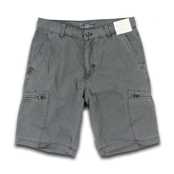 美國百分百【Calvin Klein】短褲 CK 休閒褲 11吋 五分褲 拉鏈 口袋 棉麻 31腰 灰色 男 F331